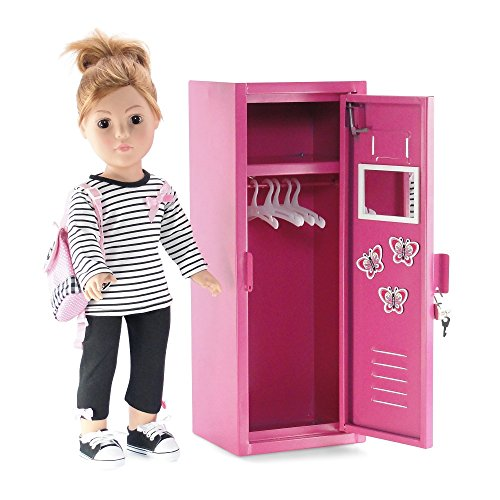 18 Inch Doll Furniture School Locker Storage Wardrobe With Working Lock And Key 5 Clothes