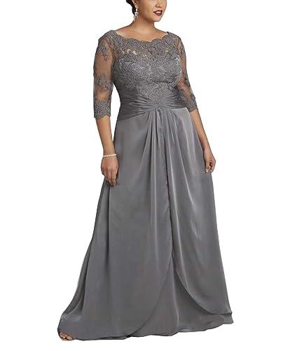 Dreamdress Women's Plus Size Grey Chiffon Sheer Long Evening Dress Formal Ball