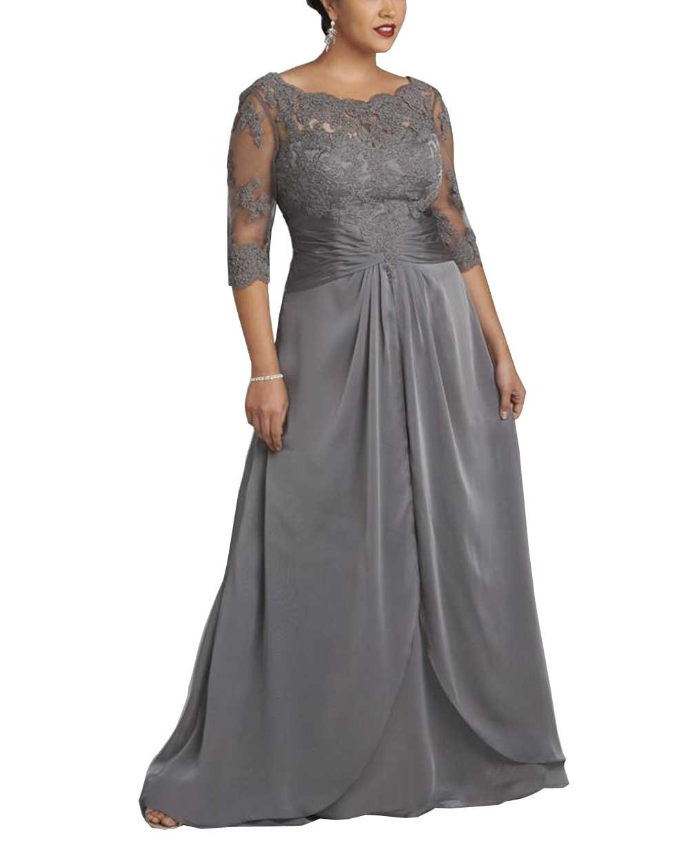 Dreamdress Women's Plus Size Grey Chiffon Sheer Long Evening Dress Formal Ball