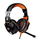 JGmax® Pro Gaming Headset 3.5mm Stereo Over-ear Headset Headphone Earphones Headband with Mic,Noise Cancelling,Volume Control for PC Laptop Black & Orange
