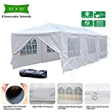 VINGLI Upgraded 10'x 30' Canopy Wedding Party Tent with 8 Removable Sidewalls,Outdoor Sunshade Shelter Event Gazebo, Heavy Duty W/Carrying Case Bag White Review
