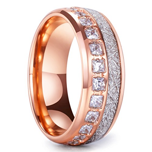 King Will Meteor Men's 8mm Titanium Rose Gold Domed Imitated Meteorite Wedding Band Cubic Zirconia ()
