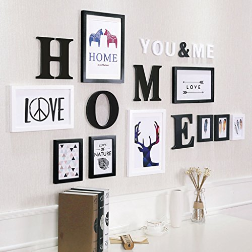 Home@Wall photo frame Decorative Photo Frames ,9 Pcs/sets Collage Photo Frame Set,Vintage Picture Frames,Family Picture Frame Wall DIY Photo Frame Sets For Wall ( Color : D , Size : 9frames/16383cm ) by ZGP