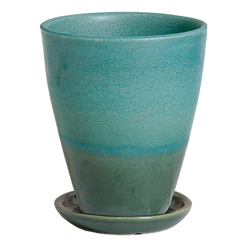 プラスガーデン 植木鉢受皿セット トレーネロング Φ250mm 底穴あり ターコイズ 信楽焼 535-13 B00OOBJ6ZG
