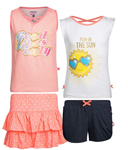 Limited Too Girls' 4-Piece Fun Summer Short Sets (2 Full Sets), Good Vibes Only, Size 12'