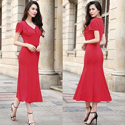Vestido del l¨¢piz del cuello de la vendimia 50s V de las mujeres Rojo