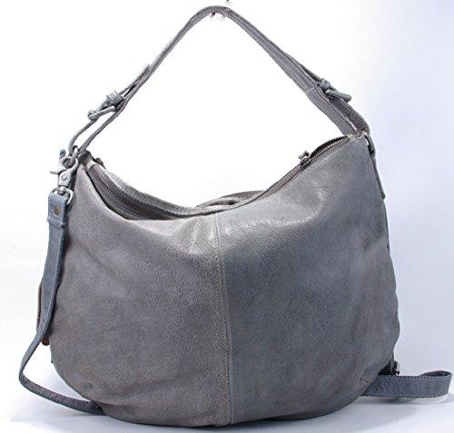 Trendige Damenhandtasche Schultertasche aus antik-grauem Echtleder