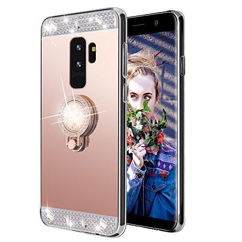 Galaxy S9 Plus Case,Lozeguyc Crystal Rhinestone Mirror Glass Case Bling Diamond Soft Rubber Makeup Case for Samsung Galaxy S9 Plus with Detachable 360 Degree Ring Stand-Rose Gold