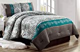 quilt double bed - Luxury 4 Piece Bedding Pin Tuck Comforter Set in Dark Grey, Teal Blue and Gold - (Double) FULL size set