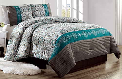 Luxury 4 Piece Bedding Pin Tuck Comforter Set in Dark Grey, Teal Blue and Gold - (Double) FULL size set