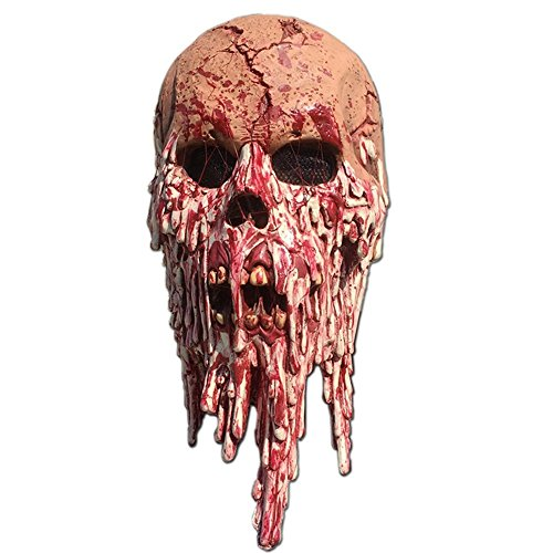Siavicky Bloody horror melted face terrible skull Halloween mask for costume party