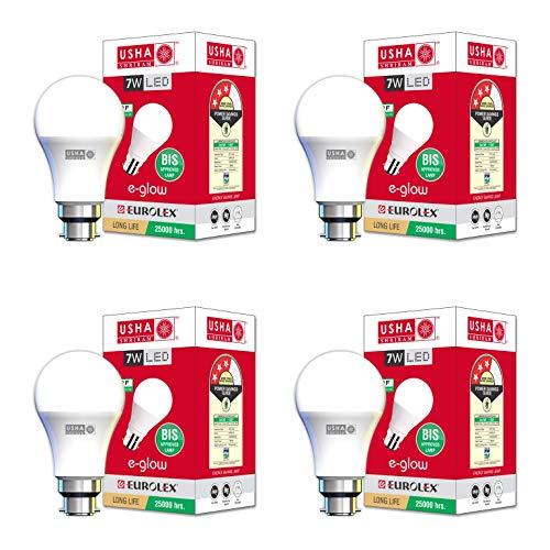 USHA SHRIRAM Base B22 7-Watt LED Bulb E-Glow, Cool Day Light , Pack of 4 , (White)