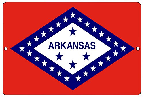 Arkansas State Flag Metal Tin Sign Wall Decor Man Cave Bar AR (Arkansas Ar State Flag)