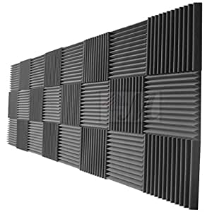 mybecca 24 pack acoustic foam panels 2 x 12 x 12 studio soundproofing wedges 24. Black Bedroom Furniture Sets. Home Design Ideas