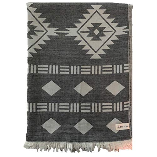 Bersuse 100% Cotton - Belize Extra Large (XL) Throw Blanket Turkish Towel - Sofa Bed Cover, Picnic Blanket - Peshtemal Beach Towel, Aztec Design - Dual Layer, Oeko-TEX - 75 - Navajo Blanket