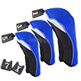 DatConShop(TM) 3Pcs Blue & Black Golf Club Wood Driver Headcovers Head Covers 1, 3, 5 Set