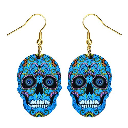 Liavy's Day of the Dead Sugar Skull Fashionable Earrings - Acrylic - Fish Hook - Blue