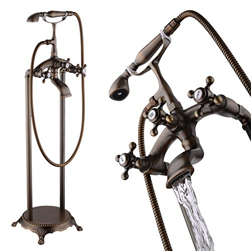 JiaYouJia Floor Mounted Freestanding Tub Filler with Personal Hand Shower Antique Brass