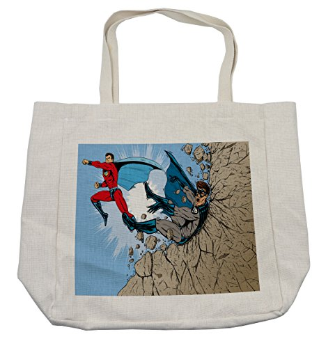 Lunarable Superhero Shopping Bag, Old School Comic Book Hero and Villain on the Rocks Punching Kicking Cartoon, Eco-Friendly Reusable Bag for Groceries Beach and More, 15.5