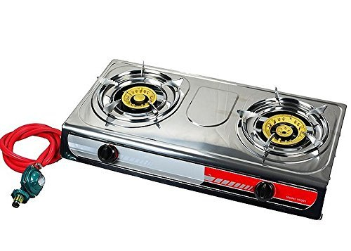 Propane Gas Stove Cooktop Double 2 Burner Stainless Steel Sleek Outdoor Camping Range Tail Gate Tailgating Stoves (Stove Gas Iron Cast Free)