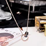 Generic Korean _double_ ring _zircon_ rose gold necklace Pendant women girl _models_ clavicle chain _does_not_fade_with_one_hundred_ short _paragraph_Europe