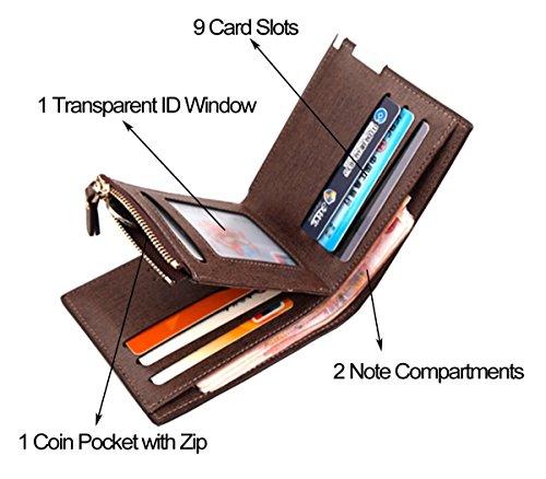 Zippé Simili Carte Homme noir Cuir Portefeuille Haute Elégant Porte Monnaie Bourse Qualité qv5Hxpwx7