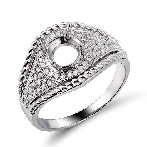 Lanmi Semi Mount Engagement Wedding Diamond Ring Set 14K White Gold 6mm Round