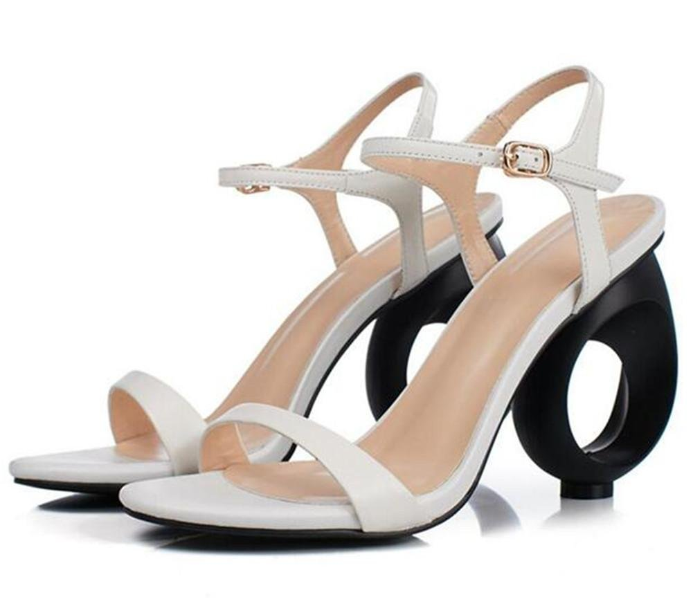 Frauen Schuhe Sandalen aus aus aus echtem Leder besondere Blockabsatz Party Hochzeit Kleid Rom offene Spitze weiß schwarz df7294