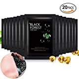 Black Forest Spa 20pcs Mineral Black Mud Nose Blackhead Remover Face Facial Black Mask Pore Acne Treatments Mask Cleaner Pore Cleansing Blackhead Mask Strips