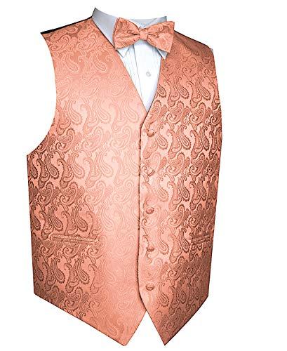 Paisley Vest Bow Tie Set-Peach-3XL ()
