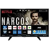 "Smart TV LED 32"" HD com WiFi 2 USB 3 HDMI TV Digital Controle com Botão Netflix, AOC LE32S5970, Preto"