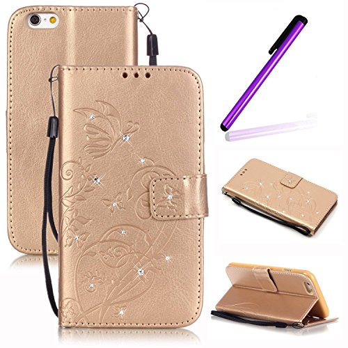 se iPhone 4S Cover,LEECO Bling Butterfly Wallet PU Leather Protects Flip Skin Case with Magnetic Closure Impact Resistant Folio Cover for Apple iPhone 4 / 4S [Crystal] Golden ()