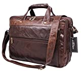 Iblue Vintage Cow Leather Laptop Computer Briefcases Messenger Bag 16 in#7146c