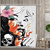 Anniutwo Tattoo Shower Curtains with Shower Hooks Attractive Women with Pink Flower in her Hair Near a Skull Design Fabric Bathroom Set with Hooks 84''x72'' Orange Pink Black and White