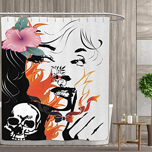 Anniutwo Tattoo Shower Curtains with Shower Hooks Attractive Women with Pink Flower in her Hair Near a Skull Design Fabric Bathroom Set with Hooks 84''x72'' Orange Pink Black and White by Anniutwo