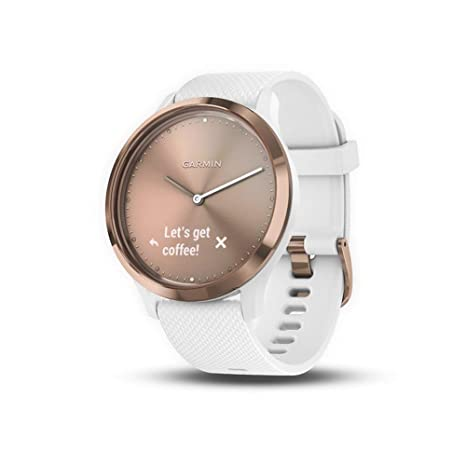 Garmin vívomove HR, Hybrid Smartwatch for Men and Women, White/Rose Gold (Certified Refurbished)