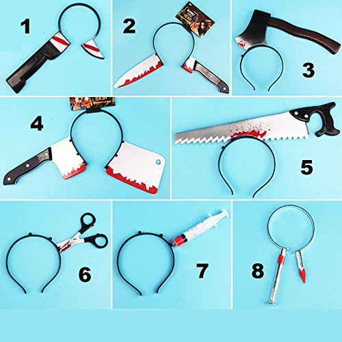 KathShop 1Pcs/lot Multi Shapes Funny Scary Toys Halloween Perform Props Axe Saw Nail Knife Headwear Fake Blood Scene Props -
