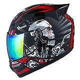 1STORM MOTORCYCLE BIKE FULL FACE HELMET MECHANIC SKULL - Tinted Visor RED (21.7/22.0 Inch)