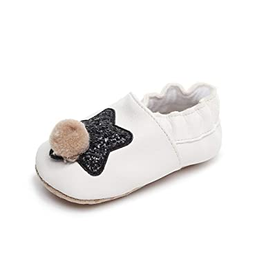 Newborn Baby Boys Girls Bling Star Hairball First Walkers Soft Sole Shoes a7fe553203cf