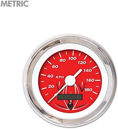 Aurora Instruments GAR223ZMXHABAD Pinstripe Red Speedometer Gauge 6614