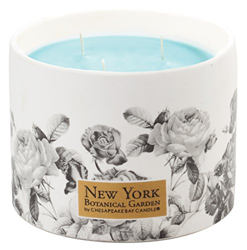 New York Botanical Garden by Chesapeake Bay Candle 3-Wick Floral Ceramic Vessel, Water Blossom