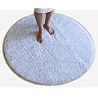 White Bath Mat Round Rug Shag Non Slip Ultra Plush Microfiber Highly Water Absorbent Durable and Washable for Bathroom 4 Feet Round