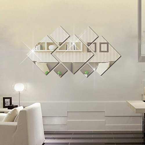 BINGNENG DIY Mirror Wall Sticker, Removable Acrylic Mirror Decor of Self Adhesive for Art Window Wall Decal Kitchen Home Decoration