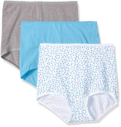 Bali Women's Cool Cotton Skamp Brief 3-Pack, Heather Grey/White/Lavender Assortment, 8 ()