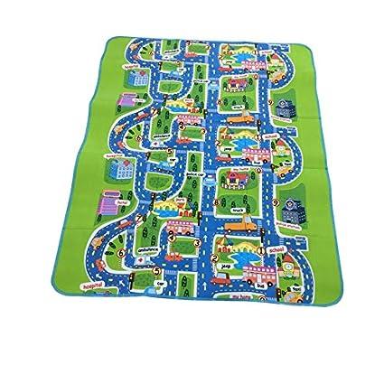 Amazon Com Joylive Kids Road Play Mat Children Rug Happy Town Car