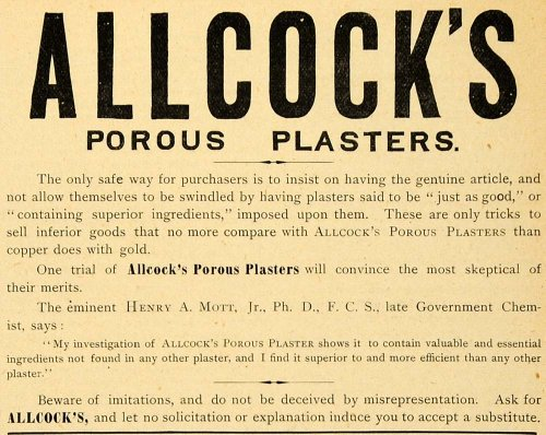 1890 Ad Allcock's Porous Plaster Henry A Mott Jr Government Chemist Construction - Original Print Ad from PeriodPaper LLC-Collectible Original Print Archive