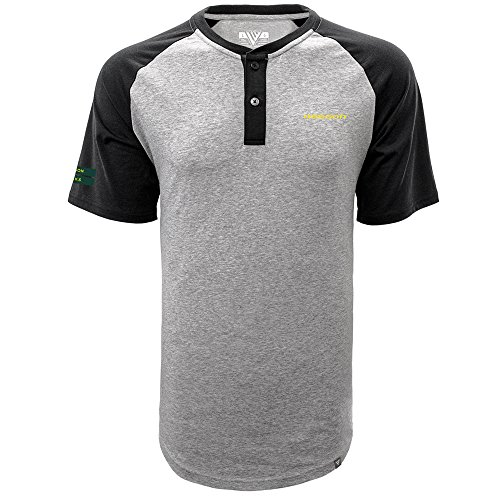 Levelwear LEY9R NCAA Oregon Ducks Men's Chief Corporal Short Sleeve Henley Shirt, XX-Large, Heather Pebble/Black