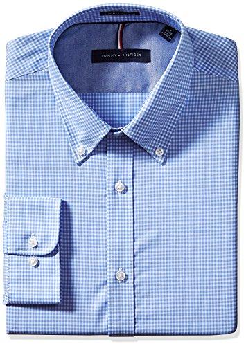 tommy-hilfiger-mens-non-iron-slim-fit-gingham-buttondown-collar-dress-shirt-english-blue-155-neck-32