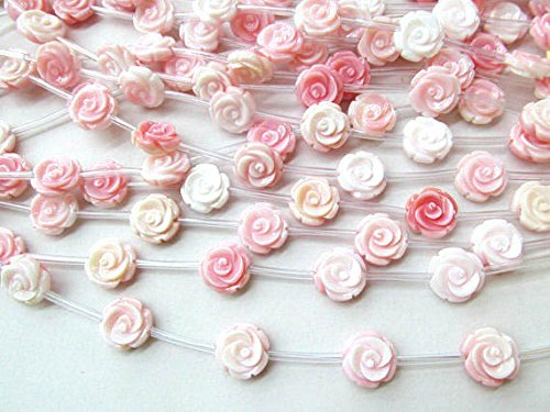 10mm Genuine Pink Red Conch Shell,Round Carved Tulip Flower Rose Rondelle Beads Flower Bead Conch Cabochons 16 inch,Precious