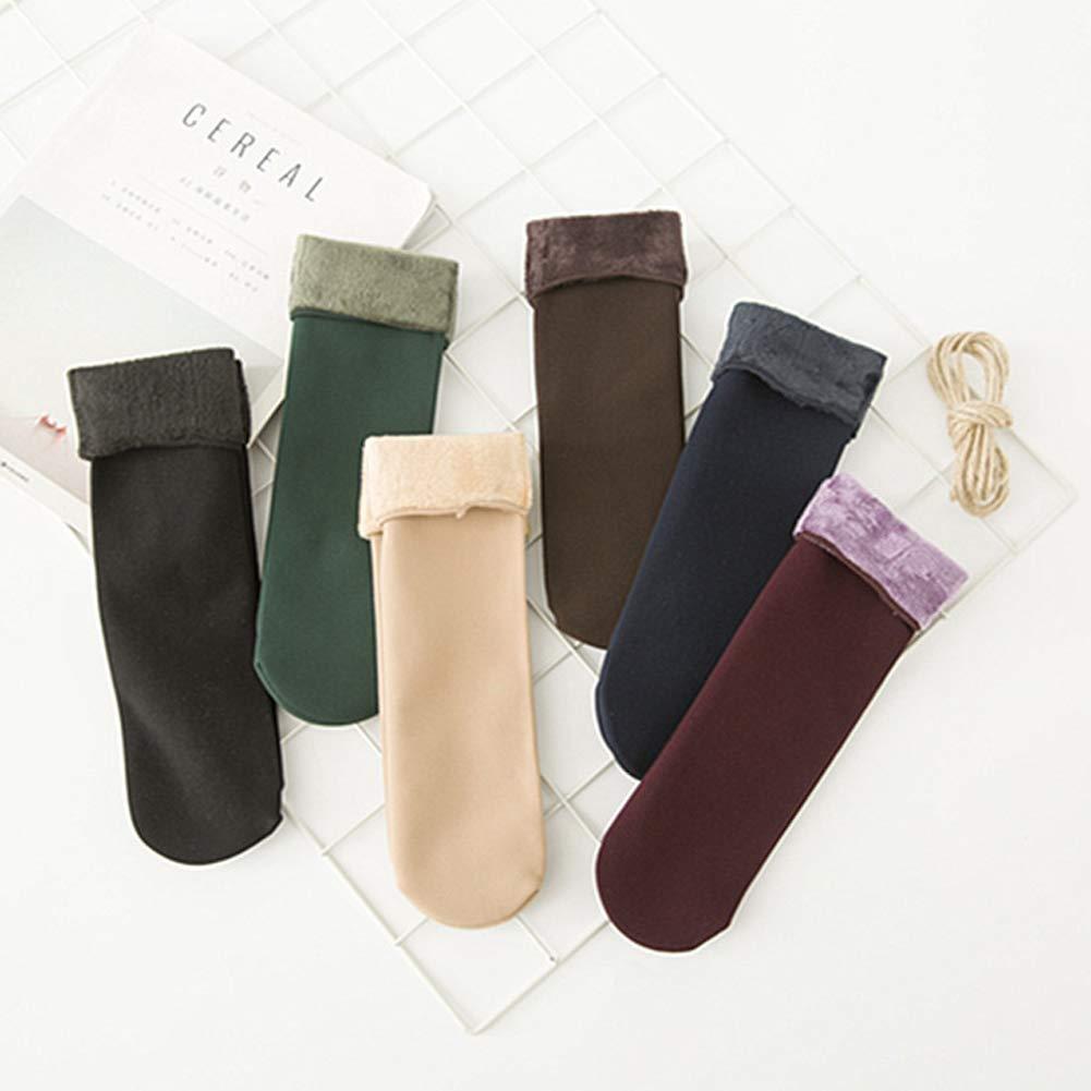 Alivier Cálido invierno mujer espesar calcetines suave forro polar forro medias: Amazon.es: Ropa y accesorios